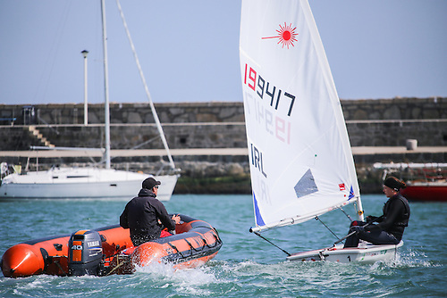 Annalise Murphy training in her Laser dinghy in Dun Laoghaire Harbour Photo: Afloat
