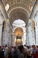 The inside of St. Peter's Basilica is seen during a tour of the Vatican on Thursday, Sept. 24, 2015. (Photo by James Brosher)
