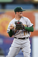 Lynchburg Hillcats third baseman Kevin Ahrens (17) throws to first during a game against the Salem Red Sox on April 25, 2014 at Lewisgale Field in Salem, Virginia.  Salem defeated Lynchburg 10-0.  (Mike Janes/Four Seam Images)