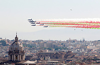 Italian Air Force's Frecce Tricolori acrobatic squad overfly Rome on the occasion of the 71st anniversary of the Italian Republic's foundation, June 2, 2017.<br /> UPDATE IMAGES PRESS/Riccardo De Luca
