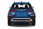 Straight rear view of 2021 Hyundai Kona Techno 5 Door SUV Rear View  stock images