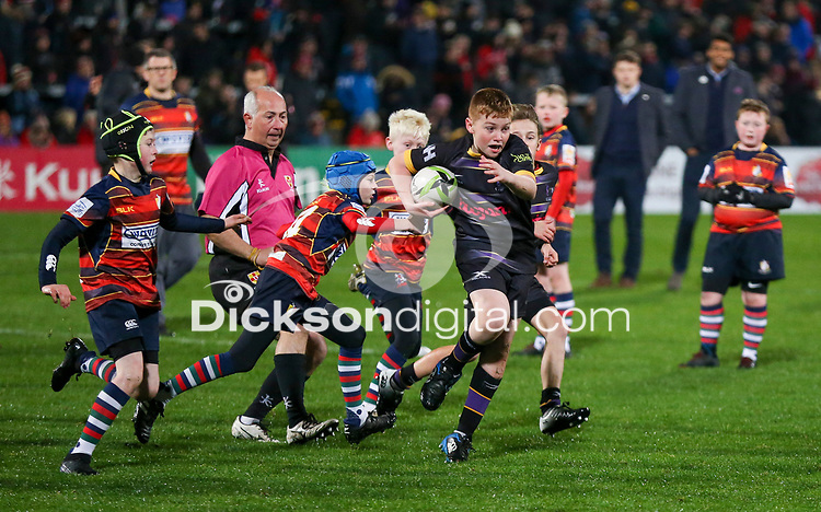 Friday 25th October 2019 | Ulster Rugby vs Cardiff Blues<br /> <br /> Mini Rugby action during the PRO14  Round 4 clash between Ulster Rugby and Cardiff Blues at Kingspan Stadium, Ravenhill Park, Belfast, Northern Ireland. Photo by John Dickson / DICKSONDIGITAL