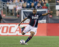 Foxborough, Massachusetts - July 22, 2017: In a Major League Soccer (MLS) match, New England Revolution (blue/white) defeated LA Galaxy (white), 4-3, at Gillette Stadium.