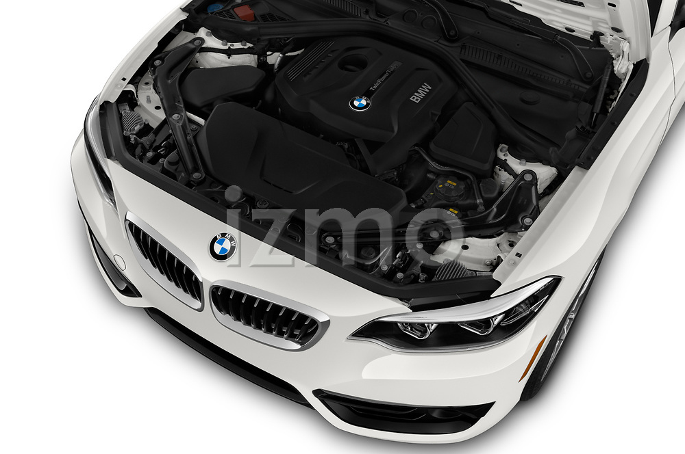 Car stock 2019 BMW 2 Series 230i Sport Line 2 Door Convertible engine high angle detail view