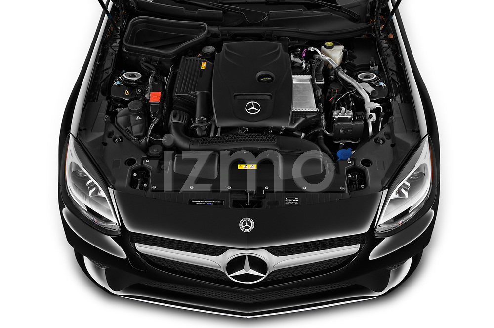Car stock 2019 Mercedes Benz SLC Roadster SLC300 2 Door Convertible engine high angle detail view