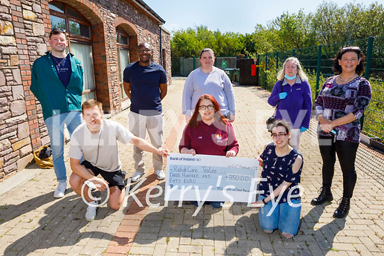 The students of the MTU Kerry BA Event Management present the sum of €350 to Rehab Care Tralee from their recent fundraiser at the Centre in Blennerville on Monday. Kneeling l to r: Darragh Hurley, Jenny Watton and Ciara Curtin. Back l to r: Connor O'Donoghue, Valentine Asafor, Tracey Cronin, Margaret Corcoran and Jane O'Donoghue.