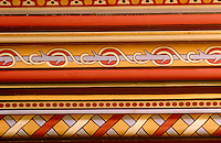 A detail of the 19th century hand-painted neo-gothic motifs by Eugène Viollet-le-Duc on a wall at Château de Roquetaillade