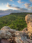 Petit Jean State Park, Arkansas:<br /> Evening light on forested Petit Jean Mountain and rock outcrops