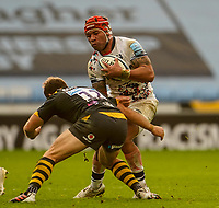 22nd November 2020; Ricoh Arena, Coventry, West Midlands, England; English Premiership Rugby, Wasps versus Bristol Bears; Jimmy Gopperth of Wasps tackles Siale Piutau of Bristol