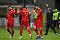 Bernardo Silva, Joao Cancelo and Ruben Neves of Portugal celebrate the qualification to the final four at the end of the Nations League League A group 3 football match between Italy and Portugal at stadio Giuseppe Meazza, Milano, November, 17, 2018 <br /> Foto Andrea Staccioli / Insidefoto
