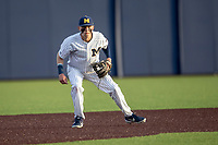 Michigan Wolverines third baseman Blake Nelson (10) on defense during the NCAA baseball game against the Eastern Michigan Eagles on May 8, 2019 at Ray Fisher Stadium in Ann Arbor, Michigan. Michigan defeated Eastern Michigan 10-1. (Andrew Woolley/Four Seam Images)