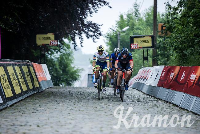 Toon Aerts (BEL/Baloise Trek Lions) putting in the effort on the cobbles of the Citadel in Diest.<br /> <br /> 17th Dwars Door Het Hageland 2021<br /> One Day Race: Aarschot – Diest 18Okm (UCI 1.Pro)<br /> Bingoal Cycling Cup 2021<br /> <br /> ©kramon