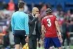 FC Bayern Munchen's coach Pep Guardiola have words with Atletico de Madrid's Filipe Luis during Champions League 2015/2016 Semi-Finals 1st leg match. April 27,2016. (ALTERPHOTOS/Acero)