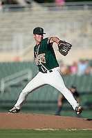 Greensboro Grasshoppers starting pitcher LJ Brewster (14) in action against the Kannapolis Intimidators at Intimidators Stadium on July 17, 2016 in Greensboro, North Carolina.  The Grasshoppers defeated the Intimidators 5-4 in game two of a double-header.  (Brian Westerholt/Four Seam Images)