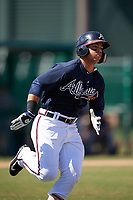 Atlanta Braves Jefrey Ramos (8) runs to first base during an Instructional League game against the Detroit Tigers on October 10, 2017 at the ESPN Wide World of Sports Complex in Orlando, Florida.  (Mike Janes/Four Seam Images)