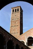milano, basilica di sant'ambrogio. il campanile dei canonici --- milan, Basilica of St. Ambrose. canonic bell tower