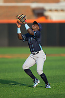 Wilmington Blue Rocks second baseman D.J. Burt (3) settles under a pop fly in shallow right field during the game against the Buies Creek Astros at Jim Perry Stadium on April 29, 2017 in Buies Creek, North Carolina.  The Astros defeated the Blue Rocks 3-0.  (Brian Westerholt/Four Seam Images)