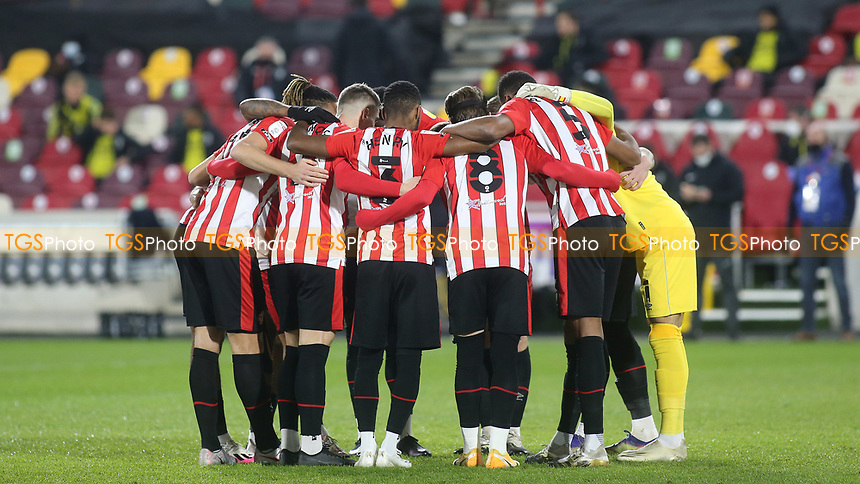 Brentford players form a huddle ahead of kick-off during Brentford vs AFC Bournemouth, Sky Bet EFL Championship Football at the Brentford Community Stadium on 30th December 2020