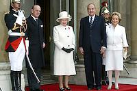 Queen Elizabeth 2 & Duke Of Edinburgh With Jacques & Bernadette Chirac In France #