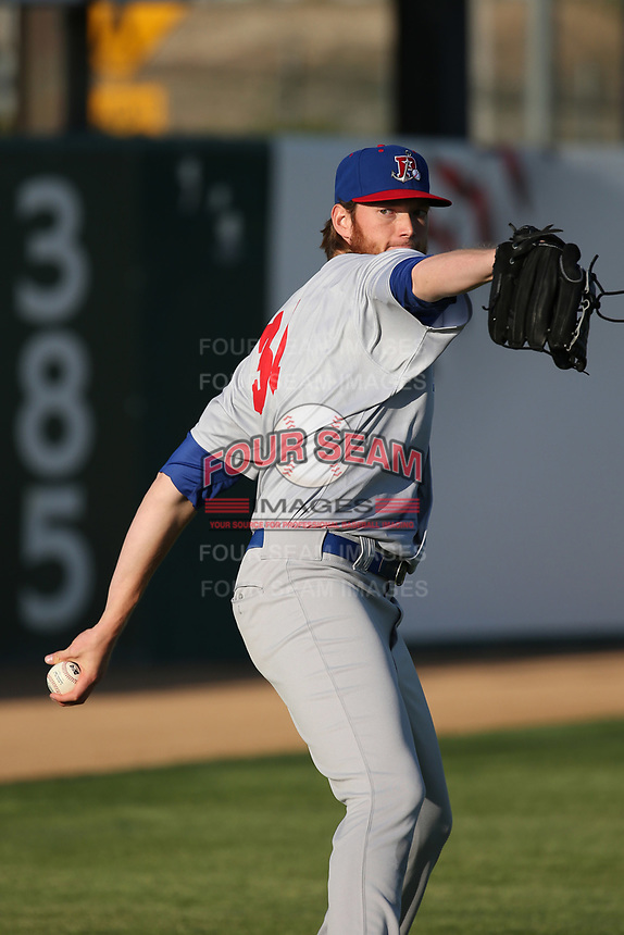 A.J. Puk (31) of the Stockton Ports throws in the outfield before pitching against the Lancaster JetHawks at The Hanger on May 12, 2017 in Lancaster, California. Lancaster defeated Stockton, 7-2. (Larry Goren/Four Seam Images)