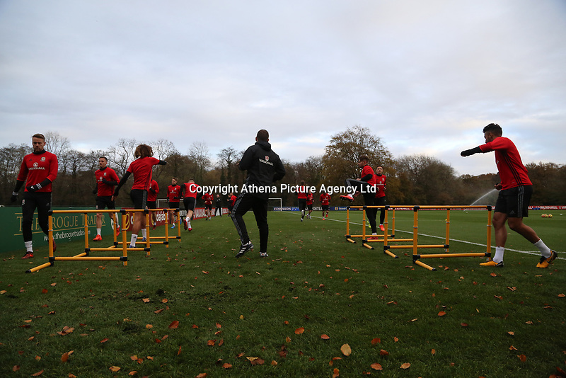 Wales players warm up during the Wales Training Session at The Vale Resort, Wales, UK. 06 November 2017