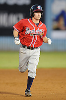 Rome Braves second baseman Ross Heffley #9 rounds the bases after homering during game two of the South Atlantic League, Southern Division playoffs against the Asheville Tourists at McCormick Field on September 7, 2012 in Asheville, North Carolina . The Tourists defeated the Braves 6-2. (Tony Farlow/Four Seam Images).