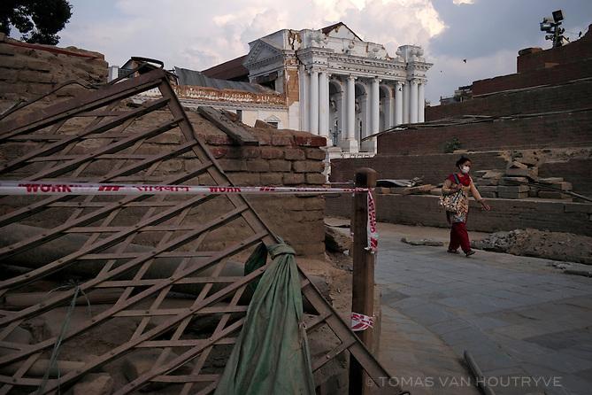 Heavy earthquake damage is seen at Kathmandu Durbar Square in Nepal in June 2015.