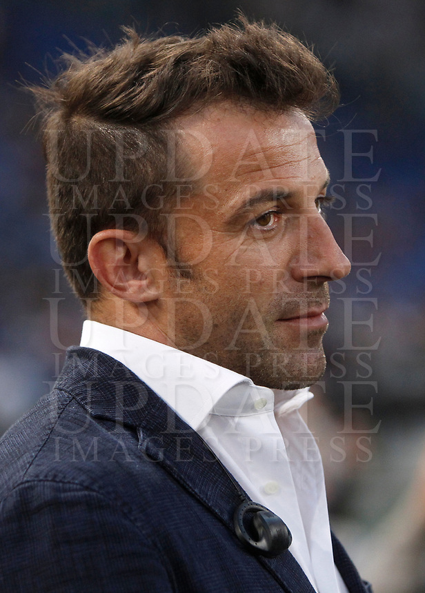 Calcio, Serie A: Roma, stadio Olimpico, 14 maggio 2017.<br /> Alessandro Del Piero waits for the start of the Italian Serie A football match between AS Roma and Juventus at Rome's Olympic stadium, May 14, 2017.<br /> UPDATE IMAGES PRESS/Isabella Bonotto