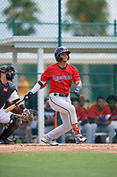 GCL Twins Luis Milla (11) bats during a Gulf Coast League game against the GCL Pirates on August 6, 2019 at Pirate City in Bradenton, Florida.  GCL Twins defeated the GCL Pirates 1-0 in the second game of a doubleheader.  (Mike Janes/Four Seam Images)