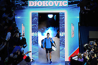 Novak Djokovic (SRB) walks out onto court to face Kei Nishikori (JPN) during Day One of the Barclays ATP World Tour Finals 2015 played at The O2, London on November 15th 2015