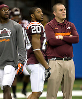 Jayron Hosley of Virginia Tech warms up before Sugar Bowl game against Michigan at Mercedes-Benz SuperDome in New Orleans, Louisiana on January 3rd, 2012.  Michigan defeated Virginia Tech, 23-20 in first overtime.