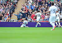 August 07, 2012..Mexico's Marco Fabian celebrates after scoring goal against Japan during Semi Final match at the Wembley Stadium on day eleven in Wembley, England. Mexico defeat Japan 3-1 to reach Men's Finals of the 2012 London Olympics...