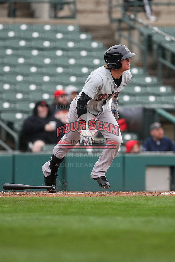 Scranton Wilkes-Barre Railriders left fielder Ben Gamel (6) runs to first against the Rochester Red Wings on May 1, 2016 at Frontier Field in Rochester, New York. Red Wings won 1-0.  (Christopher Cecere/Four Seam Images)