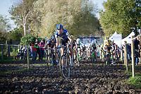 Helen Wyman (GBR/Kona) taking the lead at the start of the race<br /> <br /> Koppenbergcross 2014