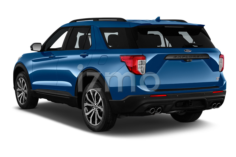 Car pictures of rear three quarter view of 2020 Ford Explorer ST 5 Door SUV Angular Rear