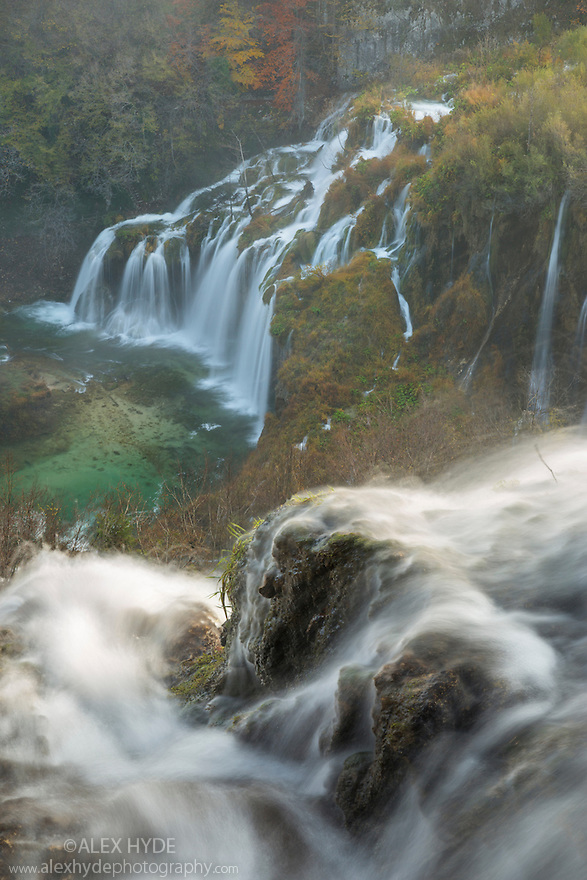 A series of waterfalls known as 'Sastavci' that cascade between mountain lakes, Plitvice Lakes National Park, Croatia. November.