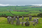 County Cork,Irelend:<br /> Standing stones of the Drombeg stone circle (akd Druid's Altar) dating from 1100-800 BC among the patchwork hillside near Glandore