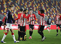 9th January 2021; Brentford Community Stadium, London, England; English FA Cup Football, Brentford FC versus Middlesbrough; Saman Ghoddos of Brentford celebrates with Tariqe Fosu of Brentford after scoring his sides 2nd goal in the 64th minute to make it 2-1