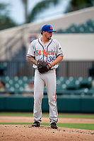 St. Lucie Mets starting pitcher Andrew Church (36) gets ready to deliver a pitch during the second game of a doubleheader against the Lakeland Flying Tigers on June 10, 2017 at Joker Marchant Stadium in Lakeland, Florida.  Lakeland defeated St. Lucie 9-1.  (Mike Janes/Four Seam Images)
