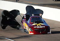 Oct. 15, 2011; Chandler, AZ, USA; NHRA funny car driver Melanie Troxel during qualifying at the Arizona Nationals at Firebird International Raceway. Mandatory Credit: Mark J. Rebilas-
