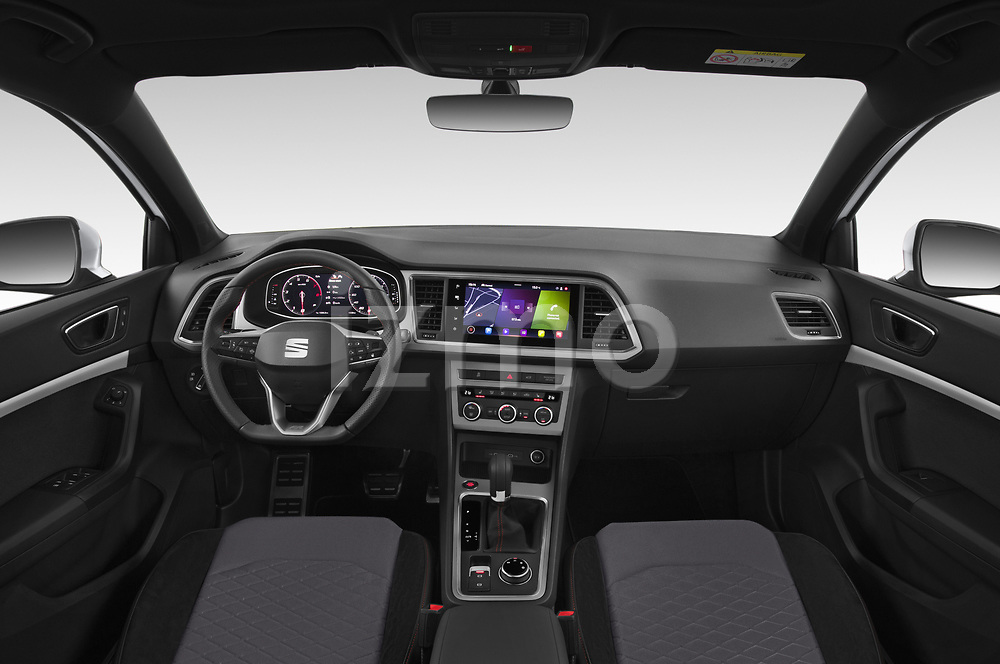 Stock photo of straight dashboard view of 2020 Seat Ateca FR 5 Door SUV Dashboard