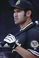 Johnny Damon of the Oakland Athletics during a 2001 season MLB game at Angel Stadium in Anaheim, California. (Larry Goren/Four Seam Images)