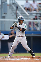 Brian Reyes (22) of the Pulaski Yankees at bat against the Danville Braves at American Legion Post 325 Field on August 1, 2016 in Danville, Virginia.  The Yankees defeated the Braves 4-1.  (Brian Westerholt/Four Seam Images)