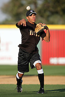 April 14, 2010: Maikol Gonzalez of the Modesto Nuts before game against the Rancho Cucamonga Quakes at The Epicenter in Rancho Cucamonga,CA.  Photo by Larry Goren/Four Seam Images