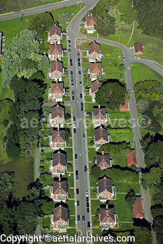 aerial photograph of the San Francisco Presidio, Golden Gate National Recreation Area, San Francisco, California