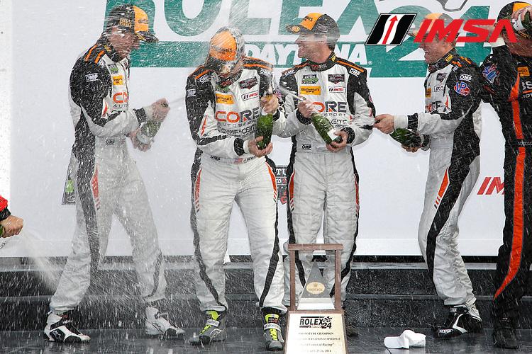 23-26 January, 2014, Daytona Beach, Florida, USA<br /> Prototype Challenge winners Core Autosport celebrate with champagne<br /> © 2014, Michael L. Levitt<br /> LAT Photo USA