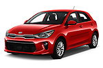 2018 KIA Rio EX 5 Door Hatchback angular front stock photos of front three quarter view