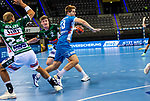 Viggo Kristjansson (TVB Stuttgart #73) ; Oskar Neudeck (FRISCH AUF! Goeppingen #2) ; Marcel Schiller (FRISCH AUF! Goeppingen #24) ; BGV Handball Cup 2020 Finaltag: TVB Stuttgart vs. FRISCH AUF Goeppingen am 13.09.2020 in Stuttgart (PORSCHE Arena), Baden-Wuerttemberg, Deutschland<br /> <br /> Foto © PIX-Sportfotos *** Foto ist honorarpflichtig! *** Auf Anfrage in hoeherer Qualitaet/Aufloesung. Belegexemplar erbeten. Veroeffentlichung ausschliesslich fuer journalistisch-publizistische Zwecke. For editorial use only.