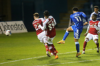 Trae Coyle of Gillingham, on loan from Arsenal, takes a shot at the Arsenal goal during Gillingham vs Arsenal Under-21, Papa John's Trophy Football at the MEMS Priestfield Stadium on 10th November 2020