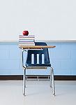 USA, Illinois, Metamora, Apple on stacked books in classroom